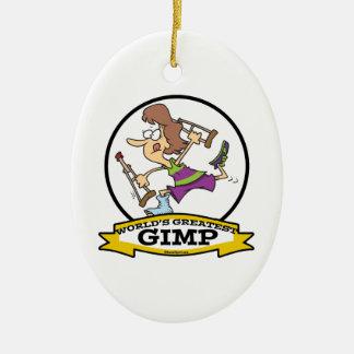 WORLDS GREATEST GIMP WOMEN CARTOON CERAMIC ORNAMENT