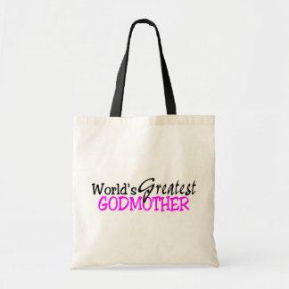 Worlds Greatest Godmother Pink Black Tote Bag