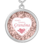 World's greatest grandma pink flowers necklace