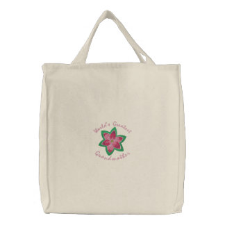 World's Greatest Grandmother Embroidered Tote Bag