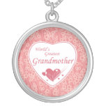 World's greatest grandmother pink flowers necklace