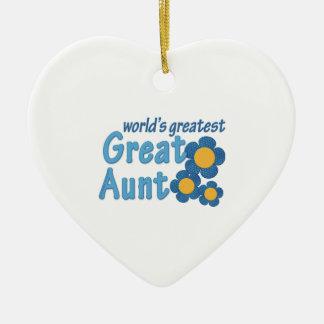 World's Greatest Great Aunt Fabric Flowers Ceramic Ornament