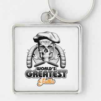 World's Greatest Griller v5 Silver-Colored Square Key Ring
