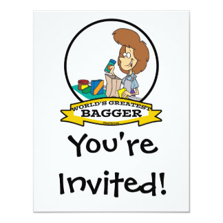 WORLDS GREATEST GROCERY BAGGER WOMEN CARTOON 11 CM X 14 CM INVITATION CARD