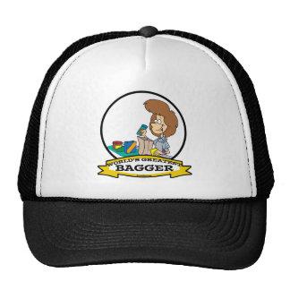 WORLDS GREATEST GROCERY BAGGER WOMEN CARTOON TRUCKER HATS