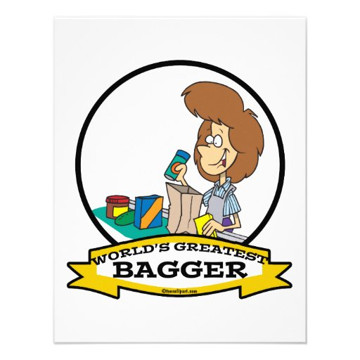 WORLDS GREATEST GROCERY BAGGER WOMEN CARTOON PERSONALIZED ANNOUNCEMENT