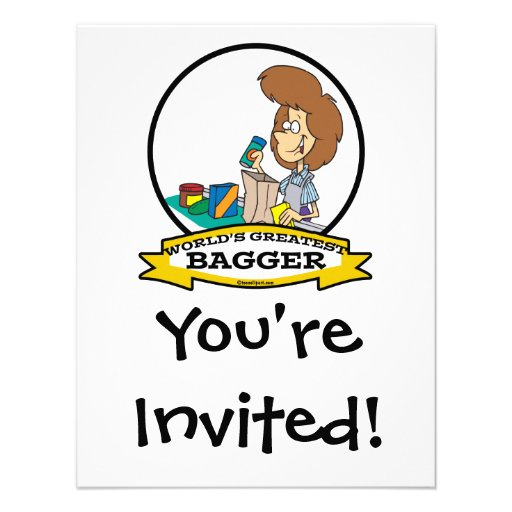 WORLDS GREATEST GROCERY BAGGER WOMEN CARTOON CUSTOM INVITATIONS