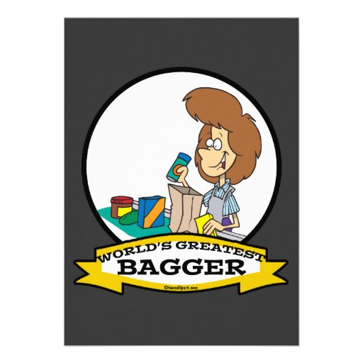 WORLDS GREATEST GROCERY BAGGER WOMEN CARTOON PERSONALIZED INVITATION