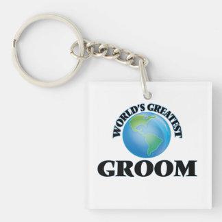 World's Greatest Groom Square Acrylic Keychains