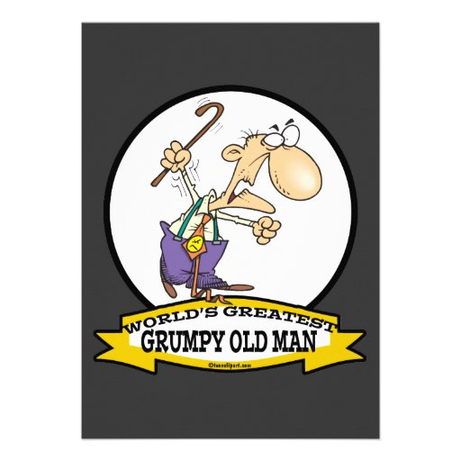 WORLDS GREATEST GRUMPY OLD MAN CARTOON PERSONALISED INVITEGrumpy Old Man Cartoon Face