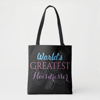 World's Greatest Hairdresser Name Customize Black Tote Bag