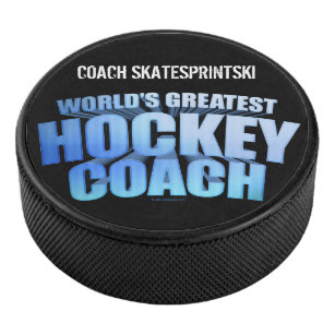 d5d4c3ac8a World's Greatest Hockey Coach (personalized) Hockey Puck