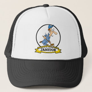 WORLDS GREATEST JANITOR CARTOON TRUCKER HAT