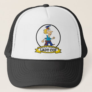 WORLDS GREATEST LADY COP CARTOON TRUCKER HAT