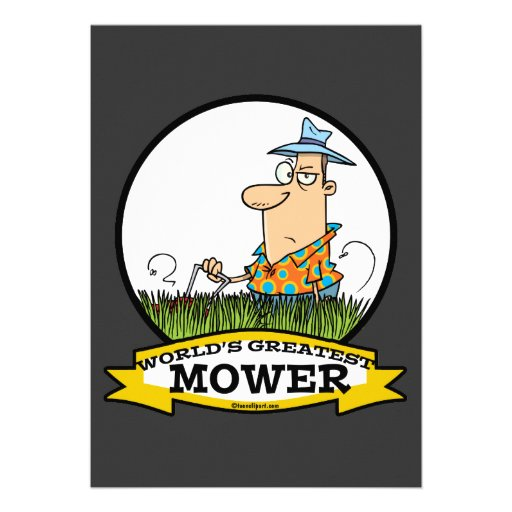 WORLDS GREATEST LAWN MOWER MEN CARTOON PERSONALIZED INVITATION
