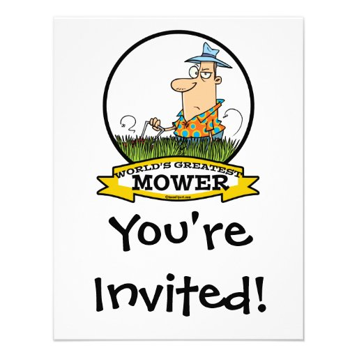 WORLDS GREATEST LAWN MOWER MEN CARTOON PERSONALIZED INVITES