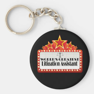 World's Greatest Litigation Assistant Basic Round Button Key Ring
