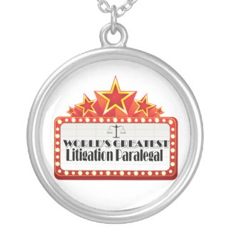 World's Greatest Litigation Paralegal Round Pendant Necklace