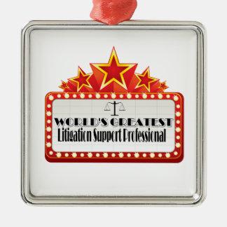 World's Greatest Litigation Support Professional Silver-Colored Square Decoration