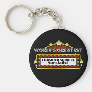 World's Greatest Litigation Support Specialist Basic Round Button Key Ring