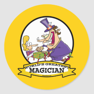 WORLDS GREATEST MAGICIAN II CARTOON CLASSIC ROUND STICKER