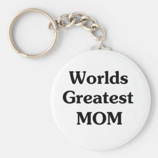 Worlds Greatest Mom Basic Round Button Key Ring