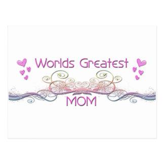 Worlds Greatest Mom colorful floral design Postcard