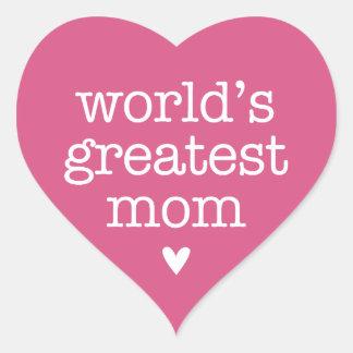 World's Greatest Mom with Heart Heart Sticker