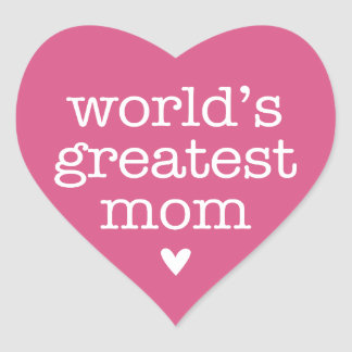 World's Greatest Mom with Heart Heart Stickers