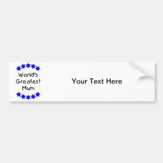 World's Greatest Mum (blue stars) Car Bumper Sticker