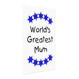 World's Greatest Mum (blue stars) Gallery Wrap Canvas