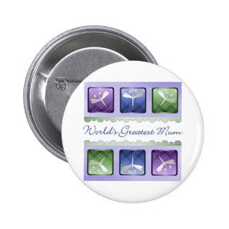 World's Greatest Mum (dragonflies) Button