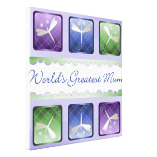 World's Greatest Mum (dragonflies) Stretched Canvas Print