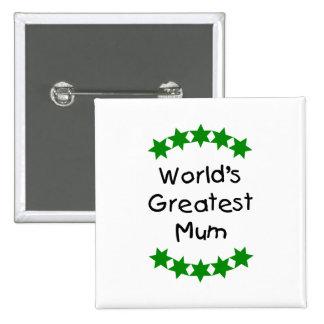 World's Greatest Mum (green stars) Pin