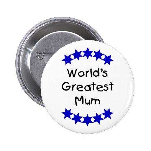 World's Greatest Mum (navy stars) Pinback Button