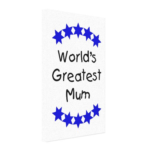 World's Greatest Mum (navy stars) Gallery Wrapped Canvas