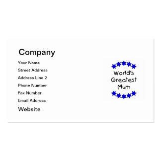 World's Greatest Mum (navy stars) Pack Of Standard Business Cards