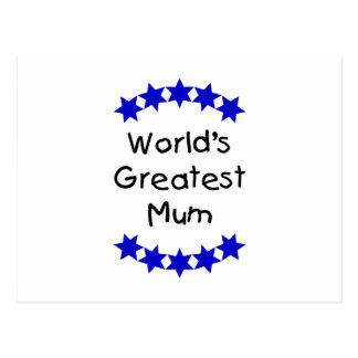 World's Greatest Mum (navy stars) Postcard