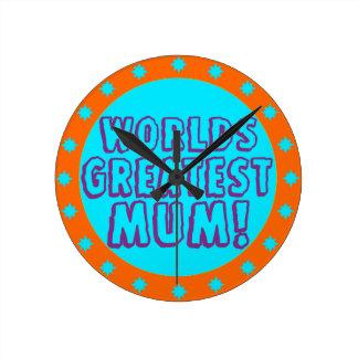 Worlds Greatest Mum Orange Blue Wall Clock