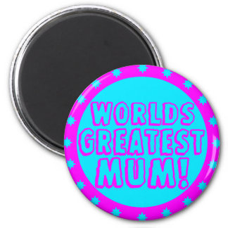 Worlds Greatest Mum Pink & Blue Magnet