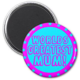 Worlds Greatest Mum Pink & Blue Magnet