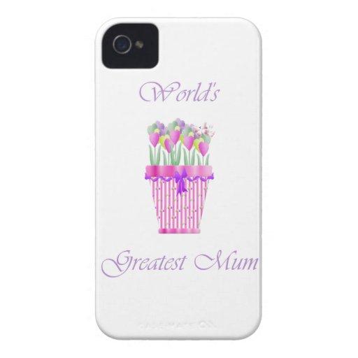 World's Greatest Mum (pink flowers) Blackberry Bold Cases