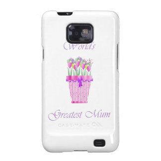 World's Greatest Mum (pink flowers) Samsung Galaxy S2 Cover