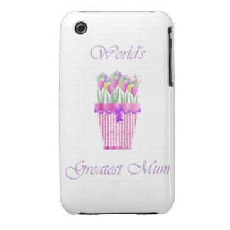 World's Greatest Mum (pink flowers) iPhone 3 Cases