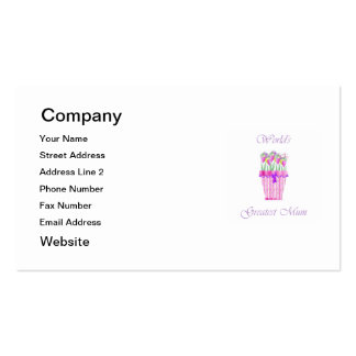 World's Greatest Mum (pink flowers) Pack Of Standard Business Cards