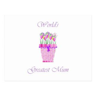 World's Greatest Mum (pink flowers) Postcard