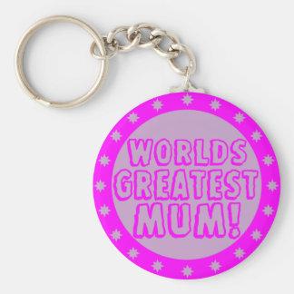 Worlds Greatest Mum Pink & Purple Keychain