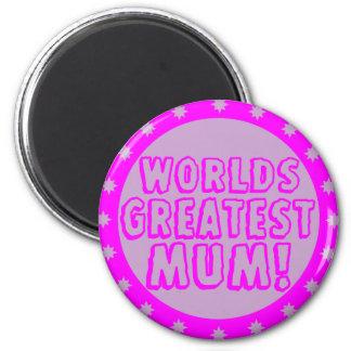 Worlds Greatest Mum Pink & Purple Magnet