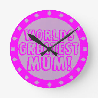 Worlds Greatest Mum Pink & Purple Wall Clock
