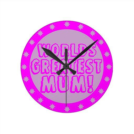 Worlds Greatest Mum Pink & Purple Wall Clock